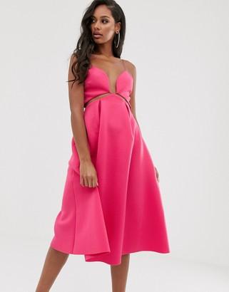 Asos Design DESIGN plunge lace up skater midi prom dress-Pink