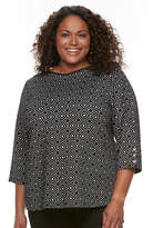 Croft & Barrow Plus Size Ribbed Shoulder Sweater