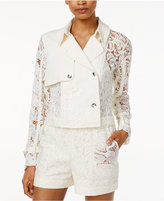 Rachel Roy Cropped Lace-Contrast Trench Jacket, Only at Macy's