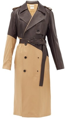 Bottega Veneta Bonded-leather Wool-gabardine Trench Coat - Womens - Camel