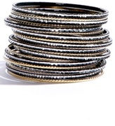 Gold Black and Silver Textured Bangle Bracelet 20-Pack