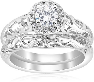 Pompeii3 14k White Gold 5/8ct TDW Diamond Halo Engagement Ring Matching Wedding Band Vintage Filigree Set