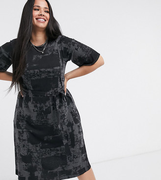 Yours printed tie waist midi t-shirt dress in gray