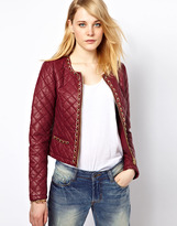 Vila Quilted Leather Look Jacket