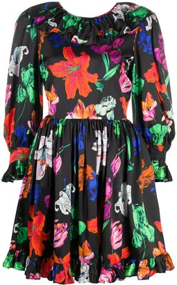 MSGM Floral-Print Short Dress