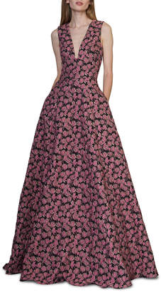 ML Monique Lhuillier Deep V-Neck Sleeveless Floral Jacquard A-Line Gown