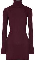 By Malene Birger Errandi Metallic Ribbed-knit Turtleneck Sweater - Merlot