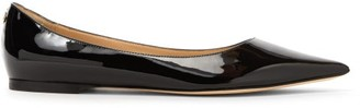 Jimmy Choo Love Flat Patent-leather Ballet Flats - Womens - Black