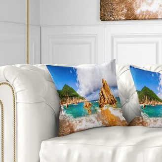 """PARADISO Seashore Scenic Costa Pillow East Urban Home Size: 16"""" x 16"""", Product Type: Throw Pillow"""