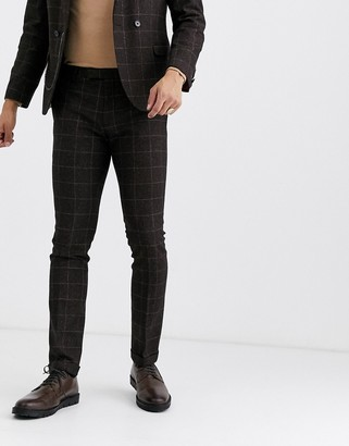 Twisted Tailor super skinny suit trousers in brown check