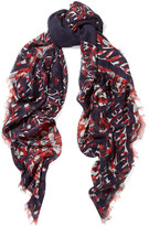 Alexander McQueen Printed Silk And Modal-blend Chiffon Scarf - Navy