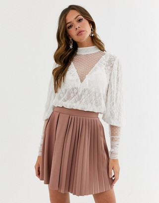 Asos Design DESIGN top in mixed lace with ruffle and puff sleeve-White