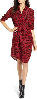 Rails Alix Red Leopard Print Long Sleeve Shirtdress