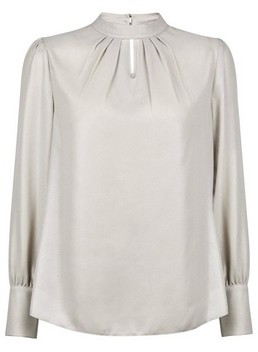 Dorothy Perkins Womens Silver Foil Honey Long Sleeve Top, Silver