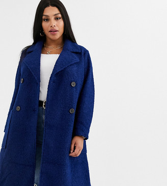 Simply Be double breasted teddy coat in navy