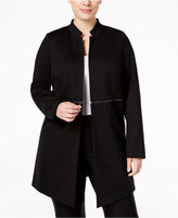 Alfani Plus Size Zip-Trim Long Military Jacket, Only at Macy's