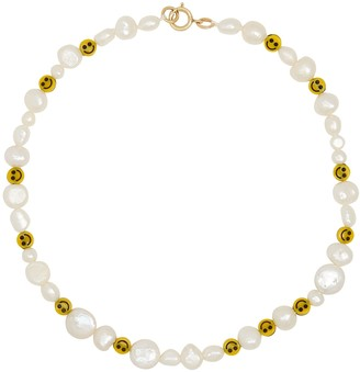 WALD BERLIN Smiley Dude beaded pearl necklace