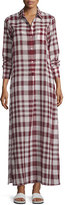 Theory Jinnifield Cotton Plaid Maxi Shirtdress, Red