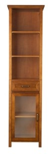Elegant Home Fashions Avery Linen Cabinet with 1 Drawer and 3 open shelves - Wood veneer with Oil Oak finish