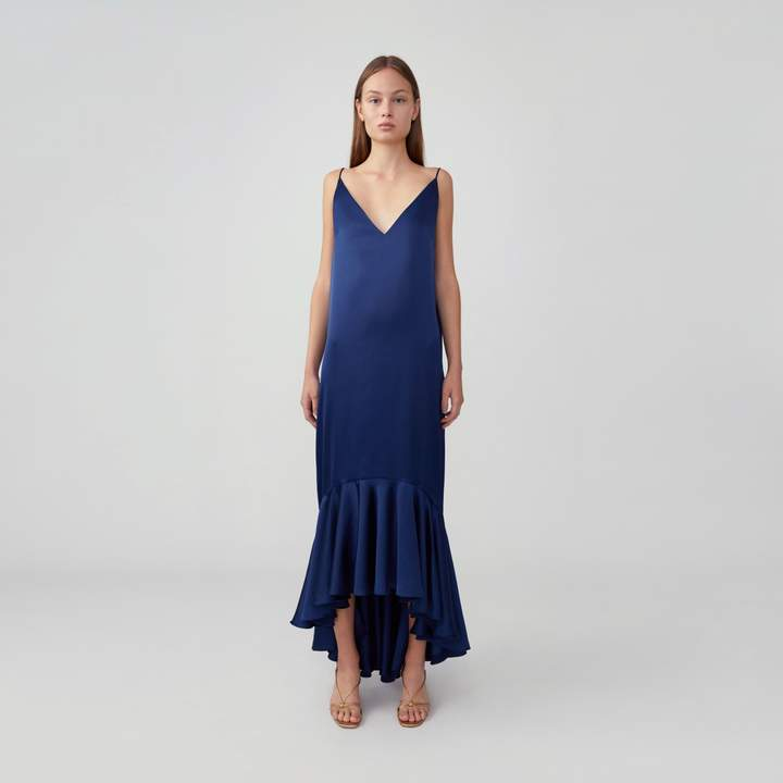 Fame & Partners High-Low Ruffle Hem Gown