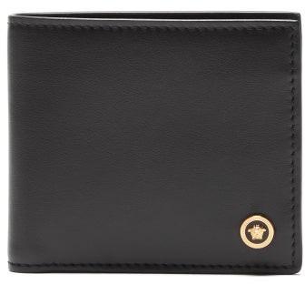 Versace Medusa Head Leather Bi Fold Wallet - Mens - Black