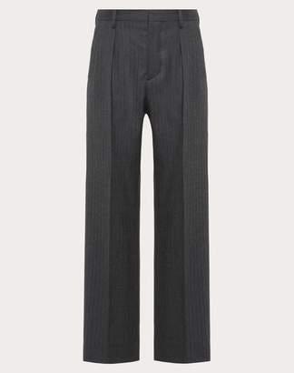 Valentino Wool Trousers Man Grey 100% Lana 50
