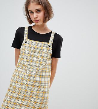 Monki Check Mini Overalls Dress in Yellow