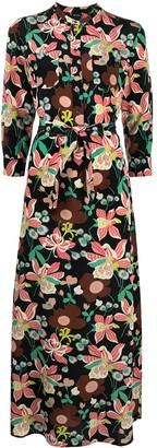 Aspesi Floral Print Maxi Silk Dress
