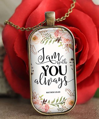 Designs by KaraMarie Women's Necklaces - White & Bronze Floral 'I Am with You' Tag Pendant Necklace