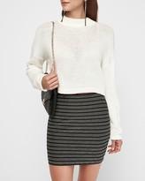 Express High Waisted Metallic Striped Knit Mini Skirt