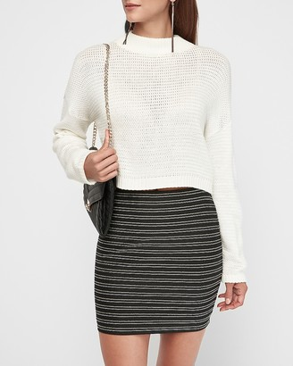 Express High Waisted Metallic Striped Knit Mini Skirt