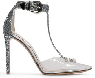 Nicholas Kirkwood Karlie 105MM Silver Glitter Embellished Heeled Pumps