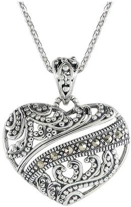 Suspicion Sterling Marcasite Filigree Heart Pendant w/ Chain