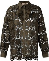 No.21 floral embroidered shirt