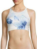 Carmen Marc Valvo Gilded Garden High Neck Bikini Top