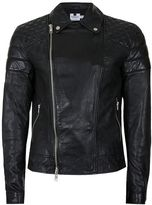Topman Black Quilted Leather Biker Jacket*