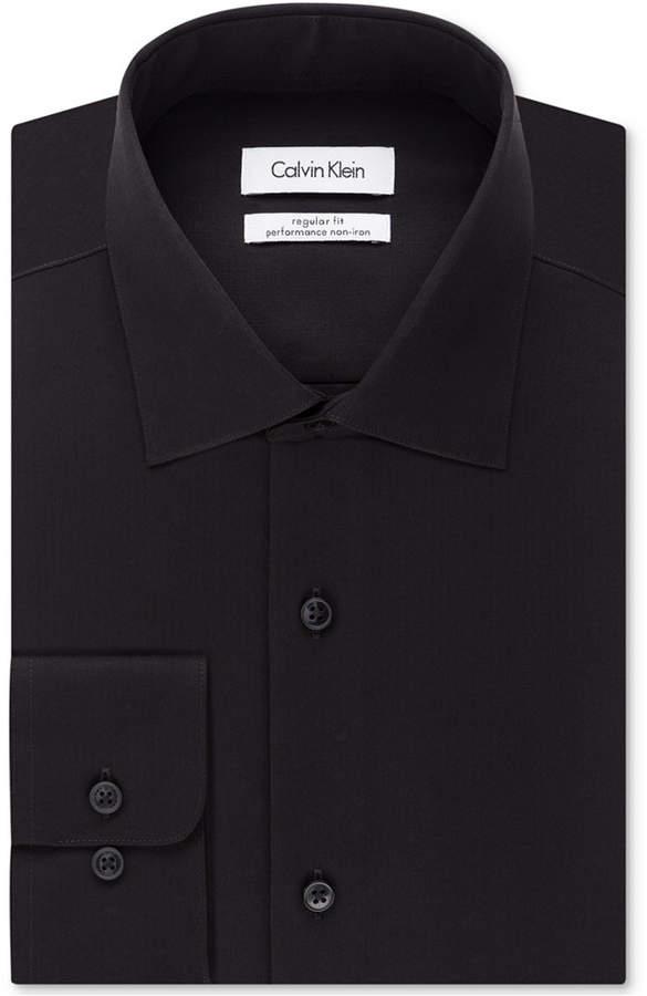 Calvin Klein Steel Men Big & Tall Classic-Fit Non-Iron Herringbone Dress Shirt