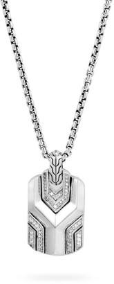 John Hardy Sterling Silver Diamond Asli Classic Chain Dog Tag Necklace