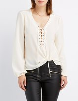 Charlotte Russe Lace-Up Open Back Top