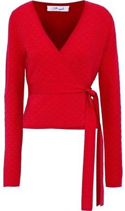 Diane von Furstenberg Quilted Stretch-knit Wrap Top