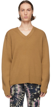 Dries Van Noten Brown Ribbed Merino V-Neck Sweater