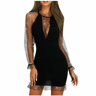 Your New Look Women's Elegant Shimmer Lace Patchwork Low Cut Mini Pencil Dress Sexy Deep V Neck Mesh Long Sleeve Bodycon Dress for Work Party Black