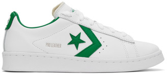 Converse White and Green Leather Pro OG Sneakers