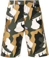MSGM camouflage print denim shorts