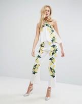 Aeryne Placement Print Jumpsuit With Halter Straps
