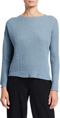Eileen Fisher Ribbed Italian Cashmere Crewneck Sweater