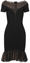 Herve Leger Lace-trimmed Bandage Dress - Black