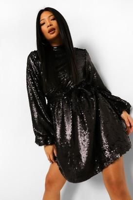 boohoo Petite Sequin High Neck Skater Dress