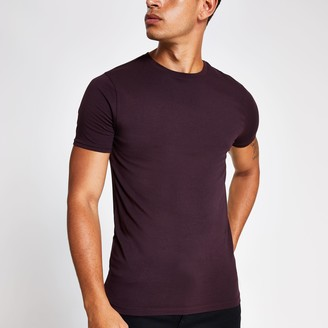 River Island Mens Burgundy muscle fit crew neck T-shirt