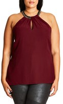 City Chic Plus Size Women's Embellished Halter Neck Top